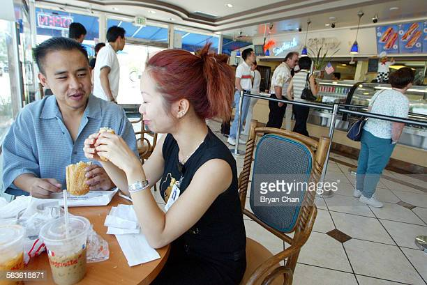 Mike Lam, left, and Susan Do have baguette sandwiches and ice coffee and tea for lunch at Mr Baguette in Rosemead. This is a review of the splashy...