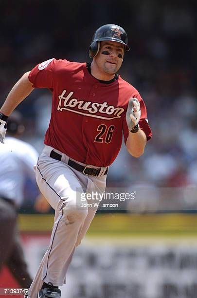 Mike Lamb of the Houston Astros runs the bases during the game against the Texas Rangers at Ameriquest Field in Arlington on July 1 2006 in Arlington...