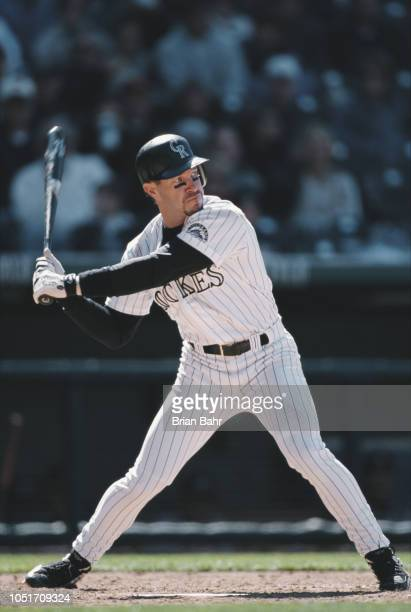 Mike Lansing Second Baseman Shortstop and Third Baseman for the Colorado Rockies batting against the Atlanta Braves during their Major League...