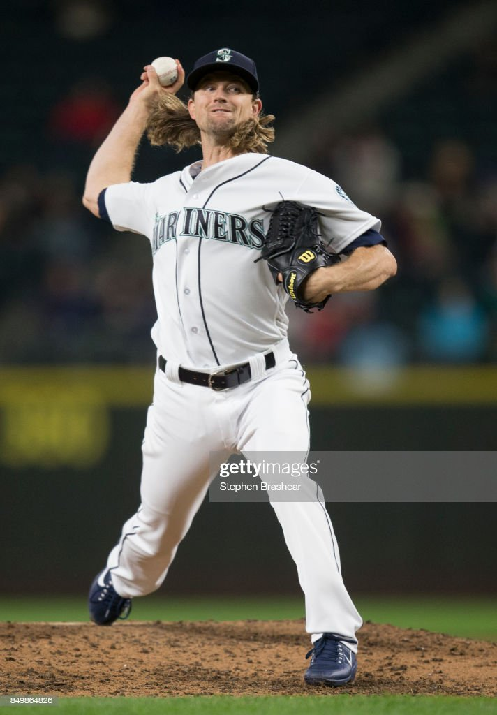 Mike Leake #8 of the Seattle Mariners delivers a pitch during the sixth inning of a game against the Texas Ranger at Safeco Field on September 19, 2017 in Seattle, Washington. The Rangers won the game 3-1.