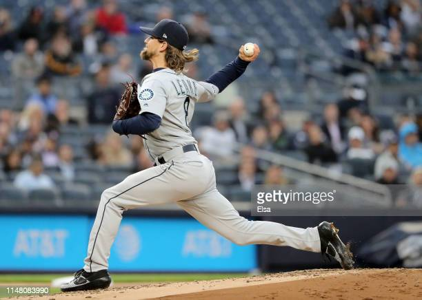 Mike Leake of the Seattle Mariners delivers a pitch in the first inning against the New York Yankees at Yankee Stadium on May 09 2019 in the Bronx...