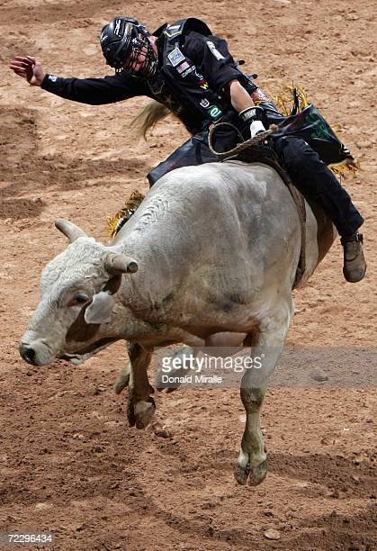 Mike Lee rides Big Mike during the Professional Bull Riders World Finals on October 29 2006 at Mandalay Bay Casino and Hotel in Las Vegas Nevada