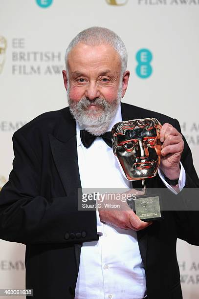 Mike Leigh winner of the BAFTA Fellowshipposes in the winners room at the EE British Academy Film Awards at The Royal Opera House on February 8 2015...