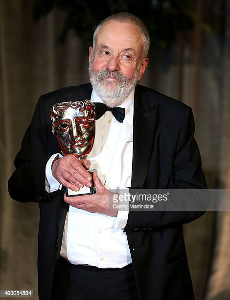 Mike Leigh with his BAFTA attends the after party for the EE British Academy Film Awards at The Grosvenor House Hotel on February 8 2015 in London...