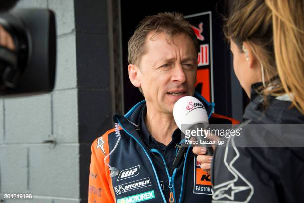 Mike Leitner of Austria speaks with journalists at the end of the MotoGP qualifying practice during qualifying for the 2017 MotoGP of Australia at...