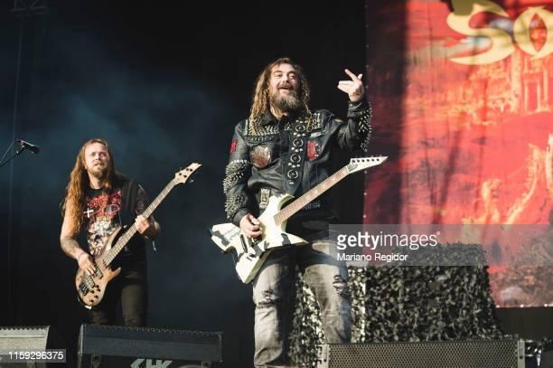 Mike Leon and Max Cavalera of Soulfly performs on stage during day 3 of Download festival 2019 at La Caja Magica on June 30 2019 in Madrid Spain