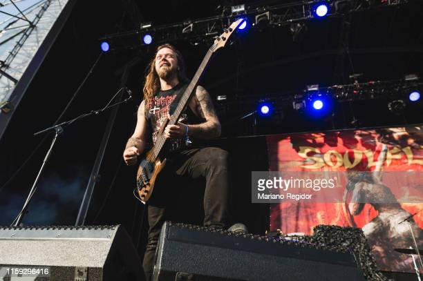 Mike Leon of Soulfly performs on stage during day 3 of Download festival 2019 at La Caja Magica on June 30 2019 in Madrid Spain
