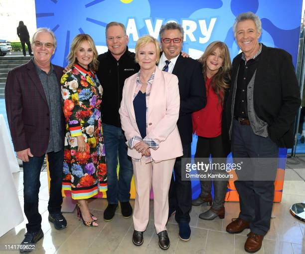 Mike Lookinland Maureen McCormick Discovery Channel President CEO David Zaslav Eve Plumb Christopher Knight Susan Olsen and Barry Williams attend...