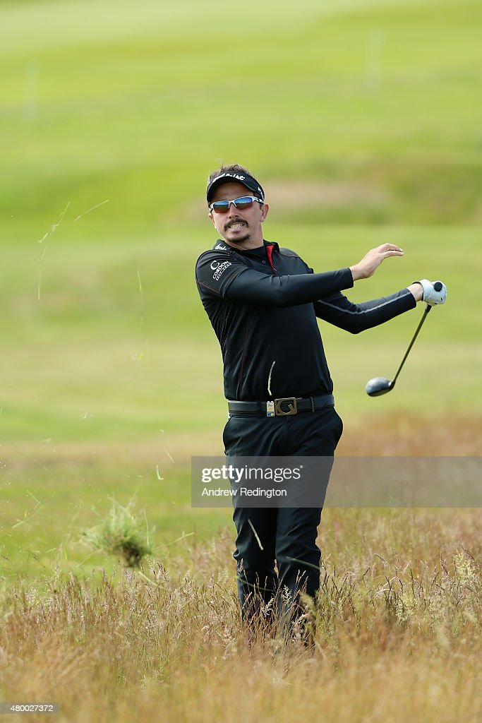 Mike Lorenzo-Vera of France hits his second shot on the 18th hole during the first round of the Aberdeen Asset Management Scottish Open at Gullane Golf Club on July 9, 2015 in Gullane, East Lothian, Scotland.