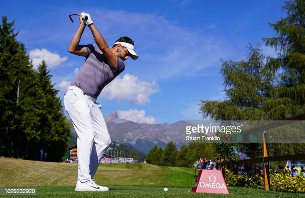 Mike LorenzoVera of France plays a shot during the third round of The Omega European Masters at CranssurSierre Golf Club on September 8 2018 in...