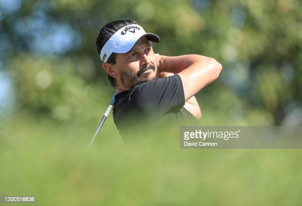 Mike LorenzoVera of France plays his tee shot on the third hole during the final round of the Abu Dhabi HSBC Championship at Abu Dhabi Golf Club on...