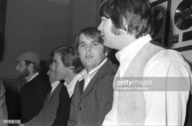 """Mike Love, Al Jardine, Dennis Wilson, Carl Wilson, Brian Wilson of the rock and roll group """"The Beach Boys"""" during an interview in November 1965 in..."""