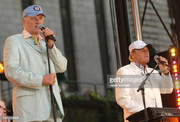 Mike Love and Bruce Johnston of the Beach Boys during The Beach Boys Perform on ABC's 'Good Morning America' July 7 2006 at Bryant Park in New York...