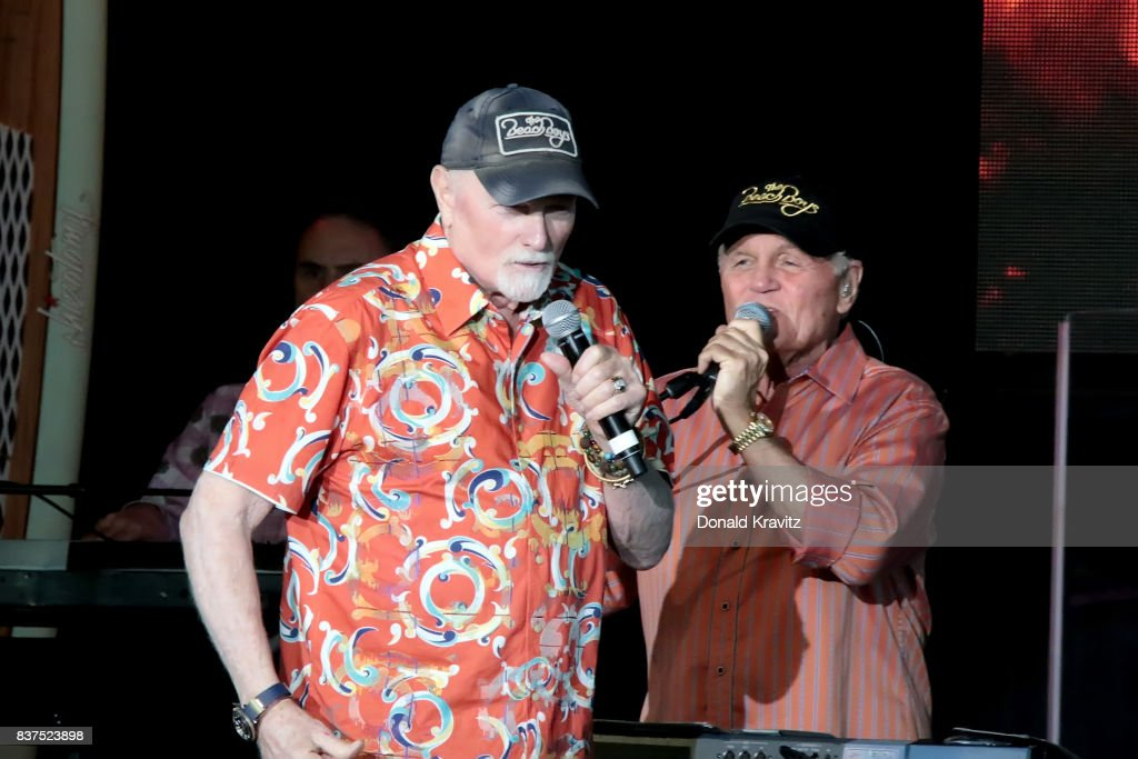 Mike Love and Bruce Johnston of the Beach Boys perform at The Music Pier on August 22, 2017 in Ocean City, New Jersey.