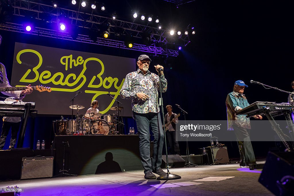 Mike Love and Bruce Johnston of the Beach Boys performs at Barclaycard Arena on May 29, 2015 in Birmingham, England.