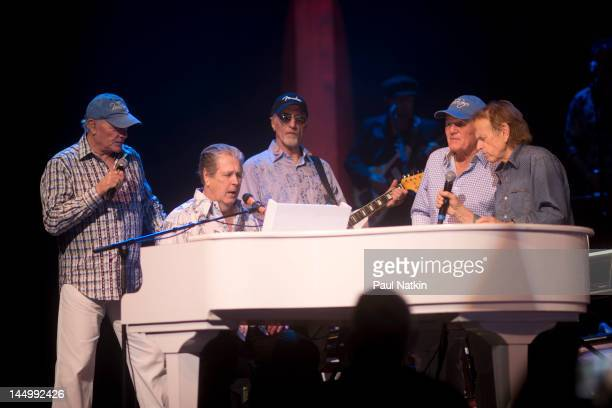 Mike Love, Brian Wilson, David Marks, Bruce Johnston and Al Jardine of the Beach Boys perform at the Chicago Theatre on May 21, 2012 in Chicago,...