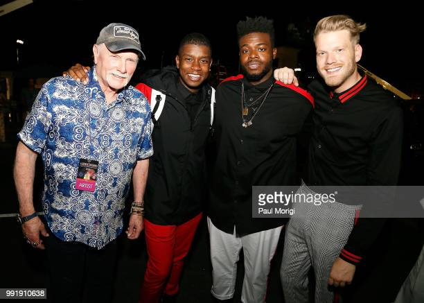 Mike Love of The Beach Boys poses for a photo with Matt Sallee Kevin Olusola and Scott Hoying of Pentatonix backstage at the 2018 A Capitol Fourth at...