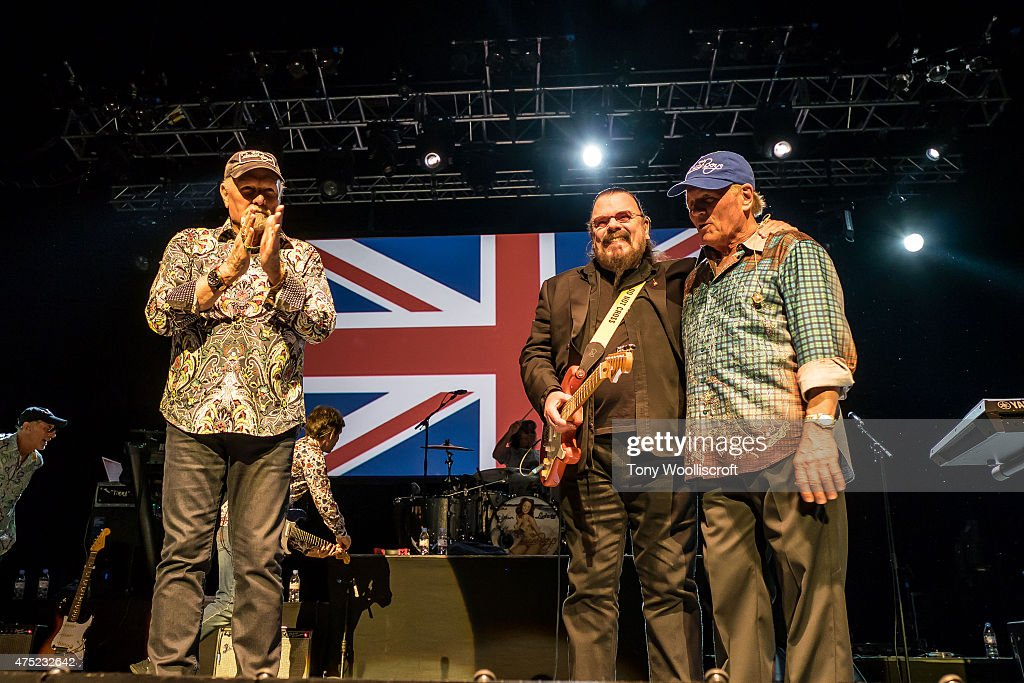 Mike Love, Roy Wood and Bruce Johnston of the Beach Boys perform at the Barclaycard Arena on May 29, 2015 in Birmingham, England.