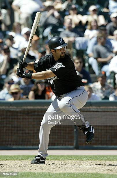 Mike Lowell of the Florida Marlins bats against the San Francisco Giants during the game at SBC Park on April 29 2004 in San Francisco California The...