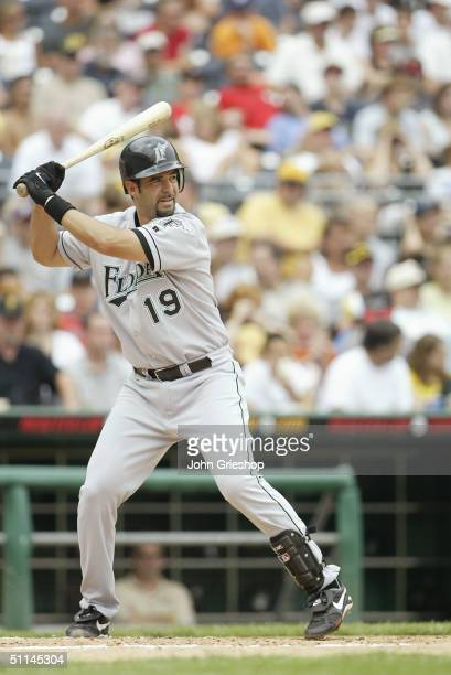 Mike Lowell of the Florida Marlins bats during the game against the Pittsburgh Pirates at PNC Park on July 18 2004 in Pittsburgh Pennsylvania The...