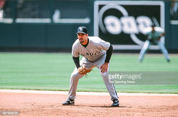 Mike Lowell of the Florida Marlins during the game against the St Louis Cardinals on May 2 2002 at Busch Stadium in St Louis Missouri