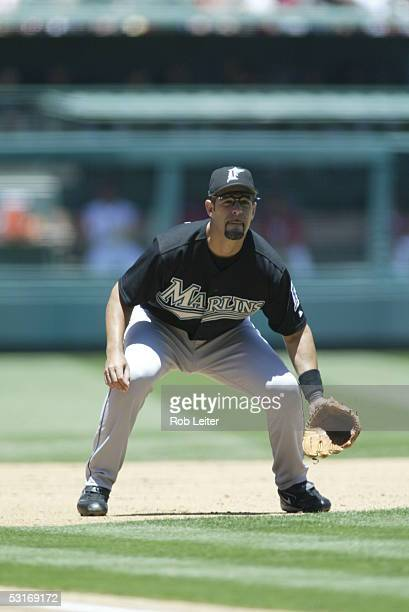 Mike Lowell of the Florida Marlins fields during the game against the Los Angeles Angels of Anaheim at Angel Stadium on June 18, 2005 in Anaheim,...