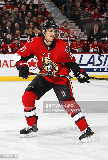 Mike Lundin makes his debut as an Ottawa Senator in a game against the Carolina Hurricanes during an NHL game at Scotiabank Place on February 7 2013...