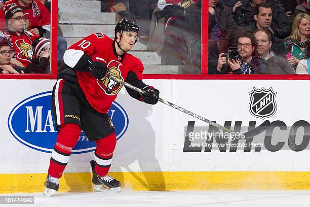 Mike Lundin of the Ottawa Senators makes a pass during an NHL game against the Carolina Hurricanes at Scotiabank Place on February 7 2013 in Ottawa...