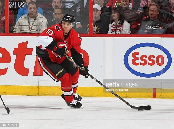 Mike Lundin of the Ottawa Senators skates against the Carolina Hurricanes on February 7 2013 at Scotiabank Place in Ottawa Ontario Canada