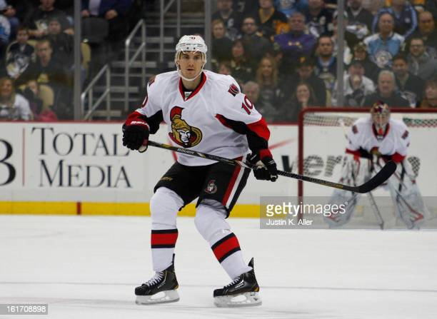 Mike Lundin of the Ottawa Senators skates against the Pittsburgh Penguins at Consol Energy Center on February 13 2013 in Pittsburgh Pennsylvania