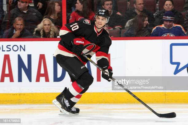 Mike Lundin of the Ottawa Senators skates against the Winnipeg Jets during an NHL game at Scotiabank Place on February 9 2013 in Ottawa Ontario Canada