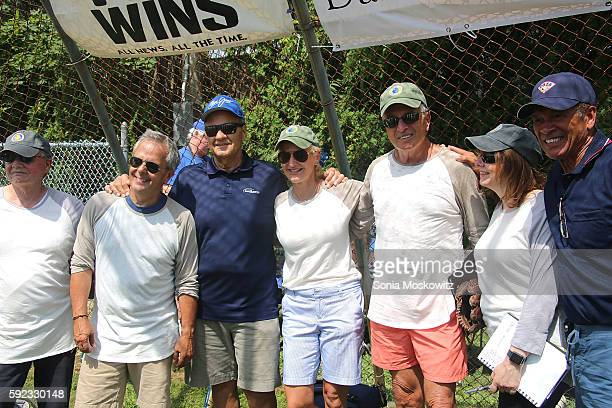 Mike Lupica Joe Torre Ann Liguori Ken Aulette attend the 68th East Hampton Artists Vs Writers Annual Softball Game at Herrick Park on August 20 2016...