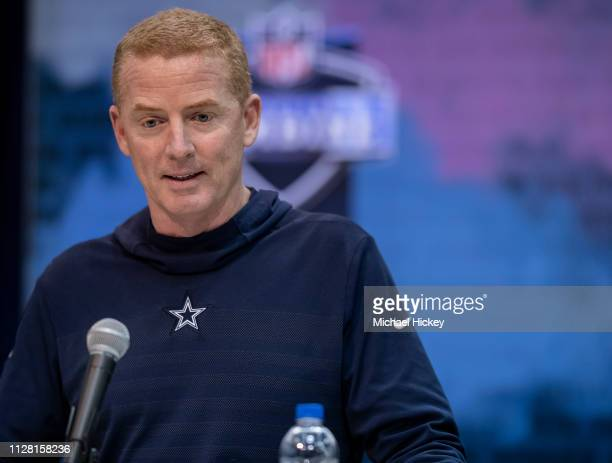 Mike Maccagnan head coach of the Dallas Cowboys is seen at the 2019 NFL Combine at Lucas Oil Stadium on February 28 2019 in Indianapolis Indiana