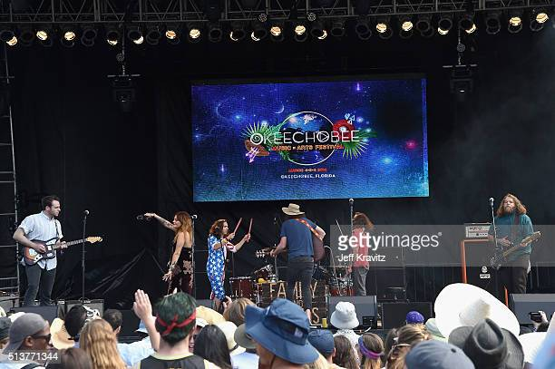 Mike MacDonald Alejandro Rios Ryan Houchens JP Mckenzie Tuna Fortuna and Melanie Annabelle of Family and Friends perform on stage at the Okeechobee...