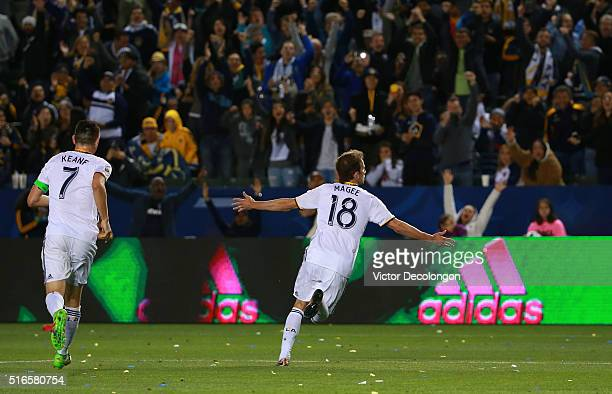 Mike Magee of Los Angeles Galaxy celebrates his goal against DC United during the second half of their MLS match at StubHub Center on March 6 2016 in...