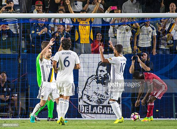 Mike Magee of Los Angeles Galaxy elebrates his penalty kick goal during Los Angeles Galaxy's 2016 US Open Cup Semifinal match against FC Dallas at...