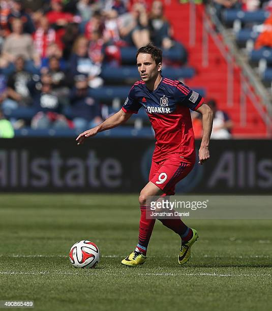 Mike Magee of the Chicago Fire advances the ball against the New England Revolution during an MLS match at Toyota Park on April19 2014 in Bridgeview...
