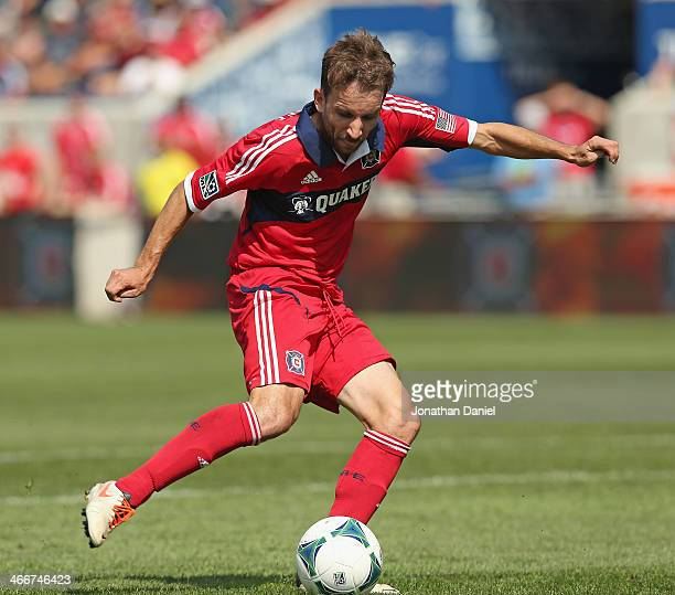 Mike Magee of the Chicago Fire shoota against the Houston Dynamo during an MLS match at Toyota Park on September 1 2013 in Bridgeview Illinois The...