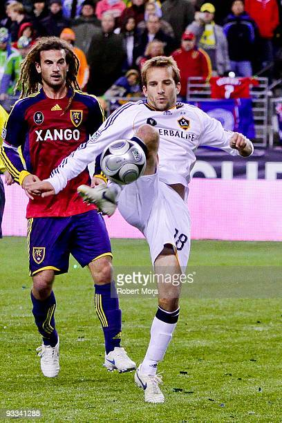 Mike Magee of the Los Angeles Galaxy stops a ball past the defense of Real Salt Lake during their MLS Cup game at Qwest Field on November 22 2009 in...