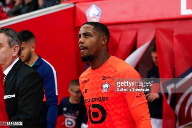 Mike Maignan of Losc looks on before the Ligue 1 match between Lille OSC and Montpellier HSC at Stade Pierre Mauroy on December 13, 2019 in Lille,...