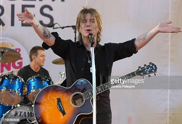 Mike Malinin and John Rzeznik of the Goo Goo Dolls perform on ABC's 'Good Morning America' at Rumsey Playfield Central Park on July 22 2011 in New...