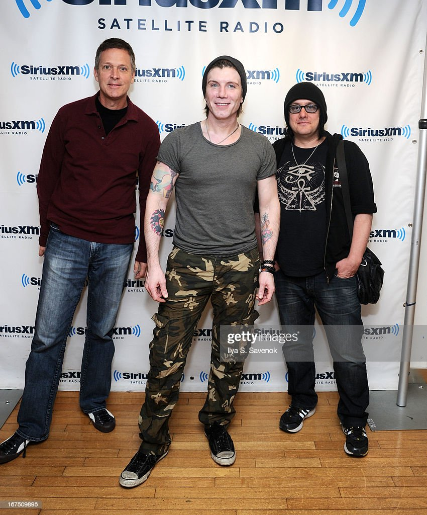 Mike Malinin, John Rzeznik and Robby Takac of the Goo Goo Dolls visit the SiriusXM Studios on April 25, 2013 in New York City.
