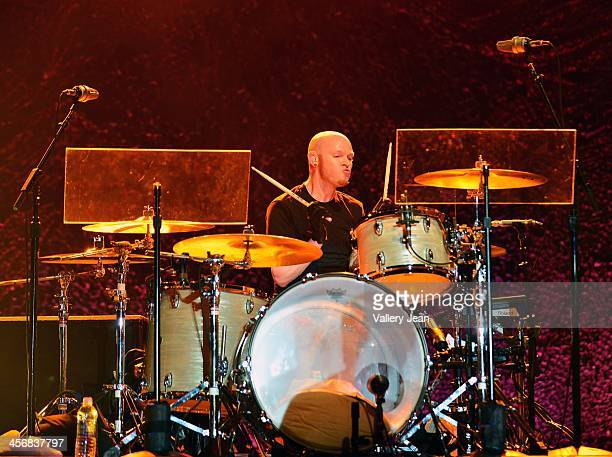 Mike Malinin of the Goo Goo Dolls performs in the 7th Annual No Snow Ball concert presented by 979 WRMF and Sunny 1079 at Mizner Park Amphitheatre on...