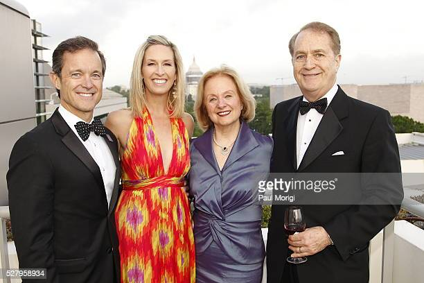 Mike Manatos Fox 5 anchor Laura Evans Tina Manatos and Andy Manatos attend the James W Foley Freedom Awards at The Newseum on May 3 2016 in...