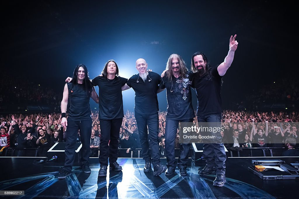 Mike Mangini, John Myung, Jordan Rudess, James LaBrie and John Petrucci of Dream Theater perform at Wembley Arena on February 14, 2014 in London, England.