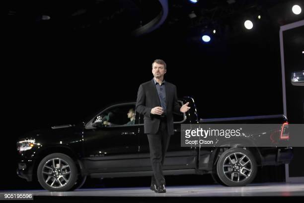 Mike Manley head of Ram brand at Fiat Chrysler Automobiles introduces the 2019 Ram 1500 pickup truck at the North American International Auto Show on...
