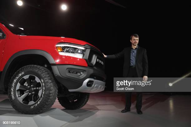 Mike Manley head of Ram brand at Fiat Chrysler Automobiles introduces the 2019 Ram 1500 Rebel pickup truck at the North American International Auto...