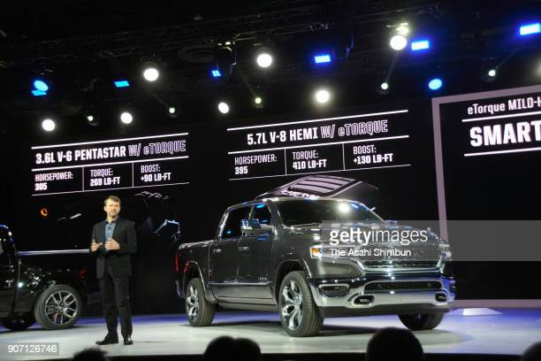Mike Manley head of Ram brand at Fiat Chrysler Automobiles speaks to the press after introducing the 2019 Ram 1500 pickup truck at the North American...