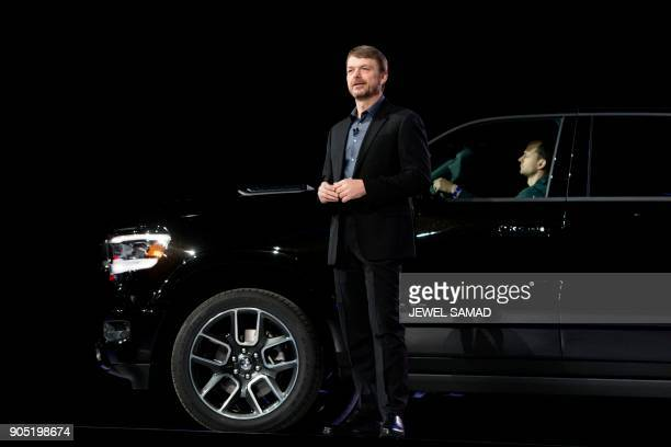 Mike Manley the head of Ram brand speaks during the press preview to introduce the 2019 Ram trucks at the 2018 North American International Auto Show...