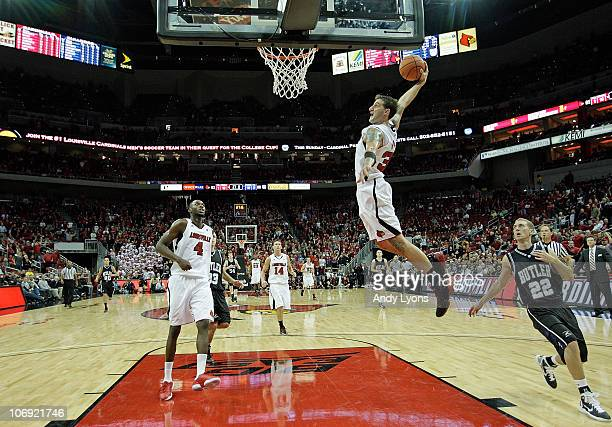Mike Marra of the Louisville Cardinals dunks the ball during the game against the Butler Bulldogs at the KFC Yum! Center on November 16, 2010 in...
